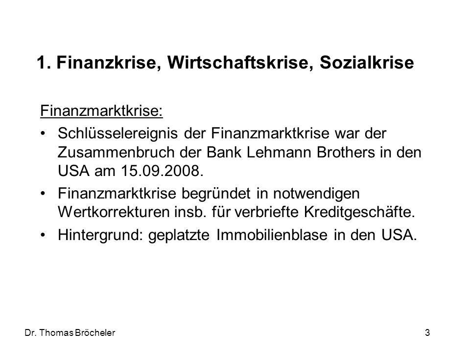 Dr. Thomas Bröcheler 3 1. Finanzkrise, Wirtschaftskrise, Sozialkrise Finanzmarktkrise: Schlüsselereignis der Finanzmarktkrise war der Zusammenbruch de