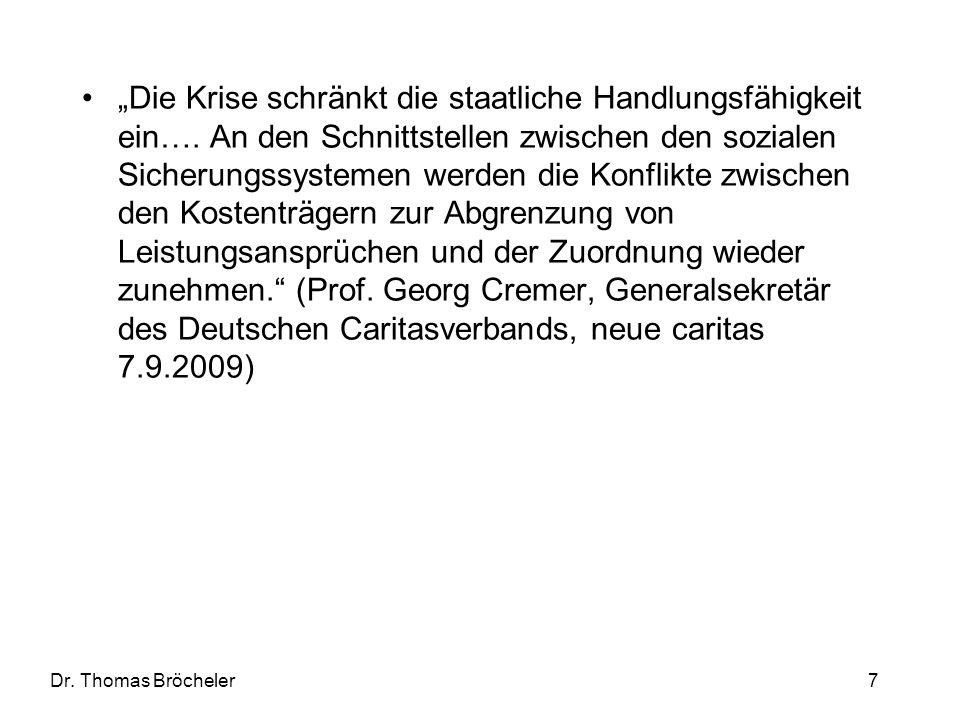 Dr. Thomas Bröcheler 7 Die Krise schränkt die staatliche Handlungsfähigkeit ein…. An den Schnittstellen zwischen den sozialen Sicherungssystemen werde