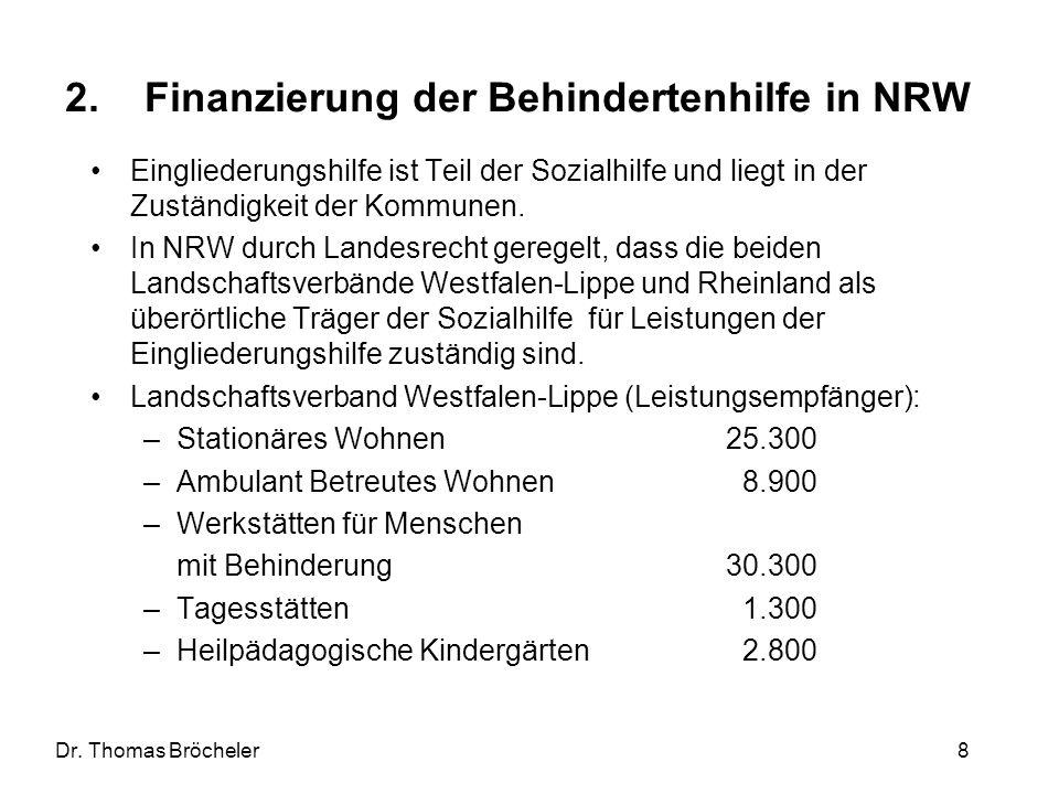 Dr. Thomas Bröcheler 8 2.Finanzierung der Behindertenhilfe in NRW Eingliederungshilfe ist Teil der Sozialhilfe und liegt in der Zuständigkeit der Komm