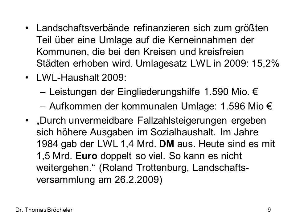 Dr. Thomas Bröcheler 9 Landschaftsverbände refinanzieren sich zum größten Teil über eine Umlage auf die Kerneinnahmen der Kommunen, die bei den Kreise