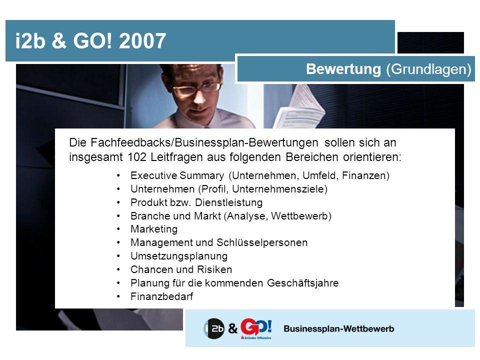 Die Fachfeedbacks/Businessplan-Bewertungen sollen sich an insgesamt 102 Leitfragen aus folgenden Bereichen orientieren: Executive Summary (Unternehmen, Umfeld, Finanzen) Unternehmen (Profil, Unternehmensziele) Produkt bzw.
