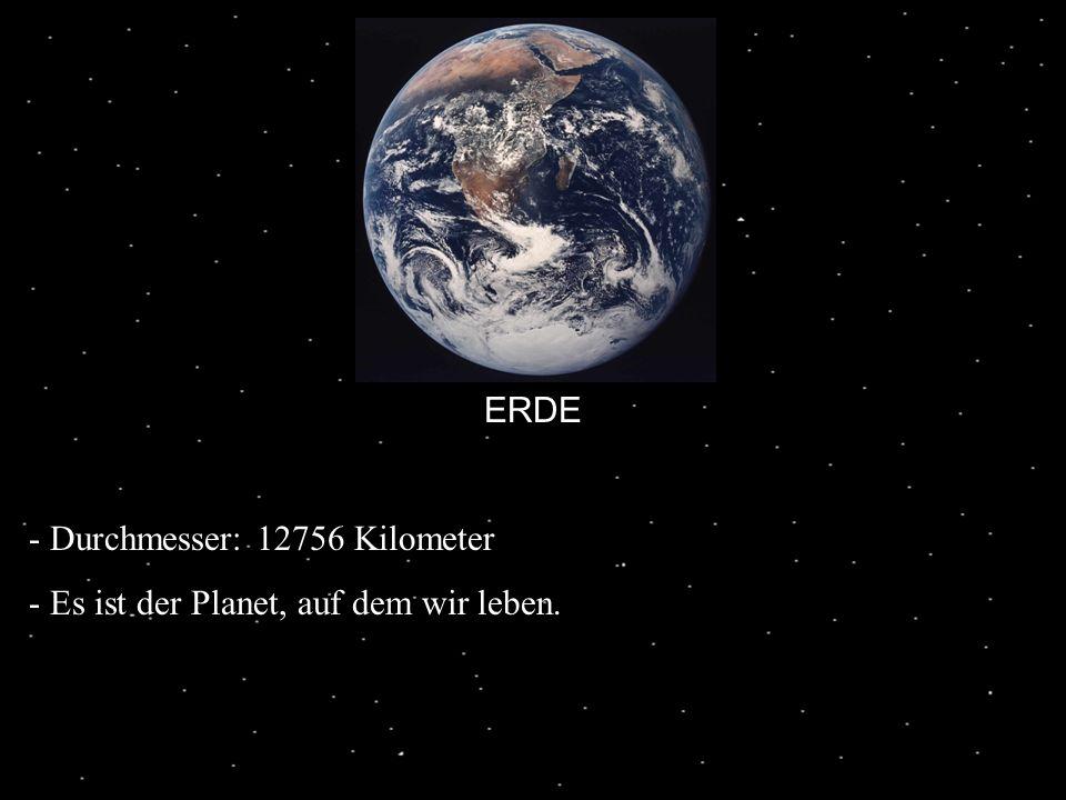 ERDE - Durchmesser: 12756 Kilometer - Es ist der Planet, auf dem wir leben.