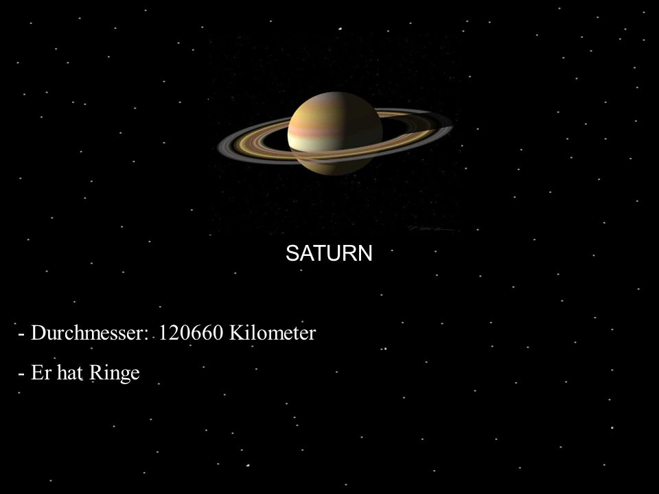 SATURN - Durchmesser: 120660 Kilometer - Er hat Ringe