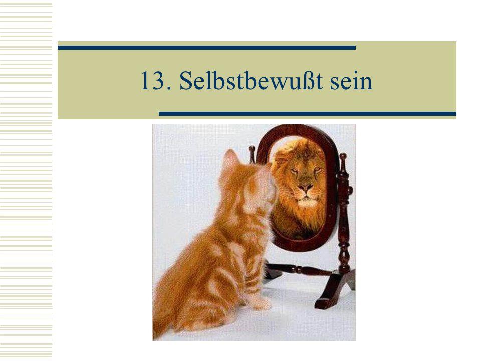 13. Selbstbewußt sein