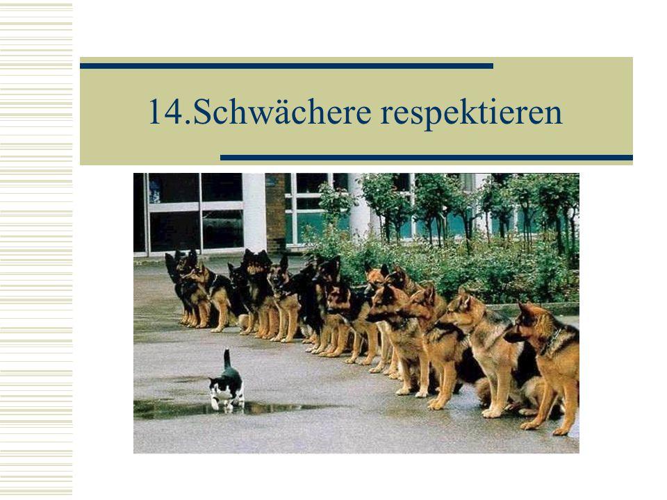 14.Schwächere respektieren