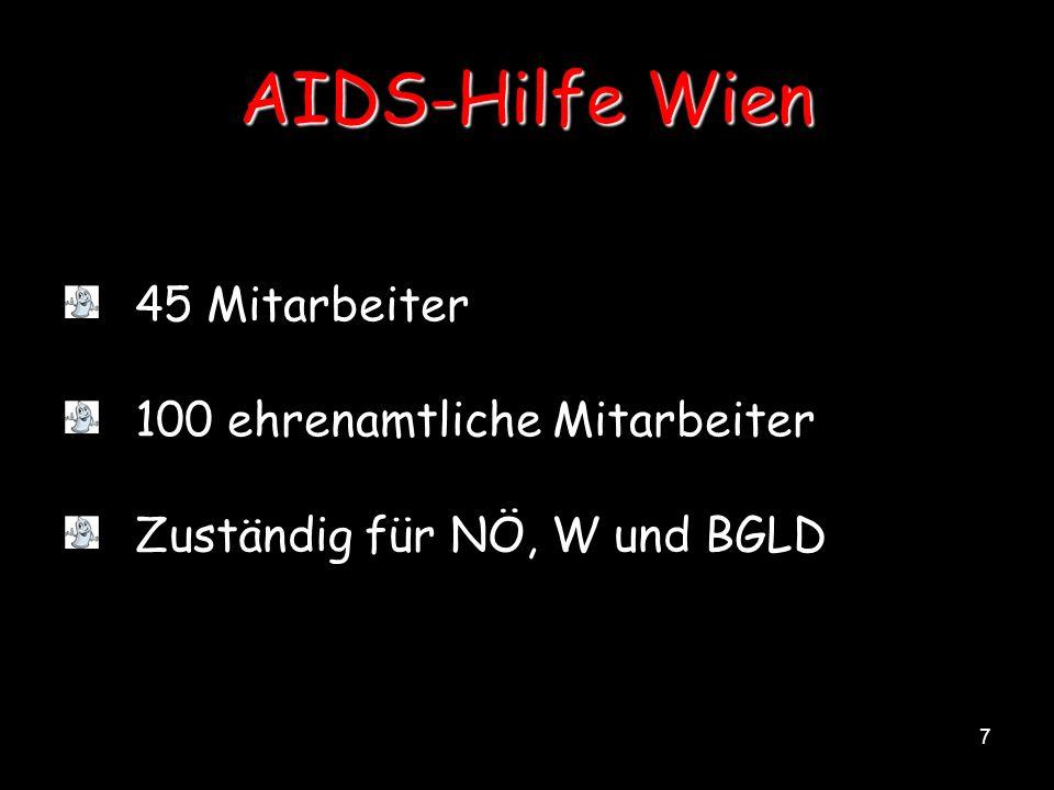7 AIDS-Hilfe Wien 45 Mitarbeiter 100 ehrenamtliche Mitarbeiter Zuständig für NÖ, W und BGLD