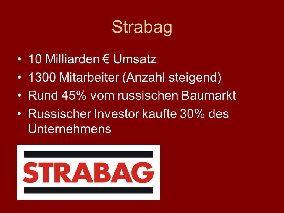 Strabag 10 Milliarden Umsatz 1300 Mitarbeiter (Anzahl steigend) Rund 45% vom russischen Baumarkt Russischer Investor kaufte 30% des Unternehmens