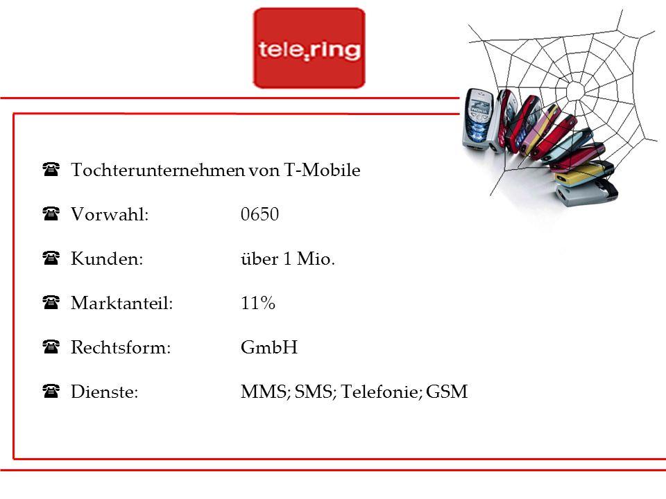 Tochterunternehmen von T-Mobile Vorwahl: 0650 Kunden: über 1 Mio. Marktanteil: 11% Rechtsform:GmbH Dienste:MMS; SMS; Telefonie; GSM