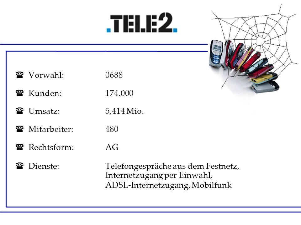 Vorwahl: 0688 Kunden: 174.000 Umsatz:5,414 Mio. Mitarbeiter:480 Rechtsform:AG Dienste:Telefongespräche aus dem Festnetz, Internetzugang per Einwahl, A