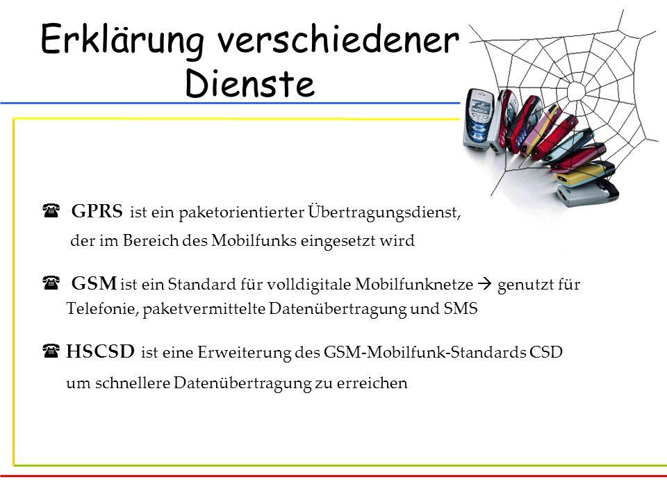 Erklärung verschiedener Dienste GPRS ist ein paketorientierter Übertragungsdienst, der im Bereich des Mobilfunks eingesetzt wird GSM ist ein Standard