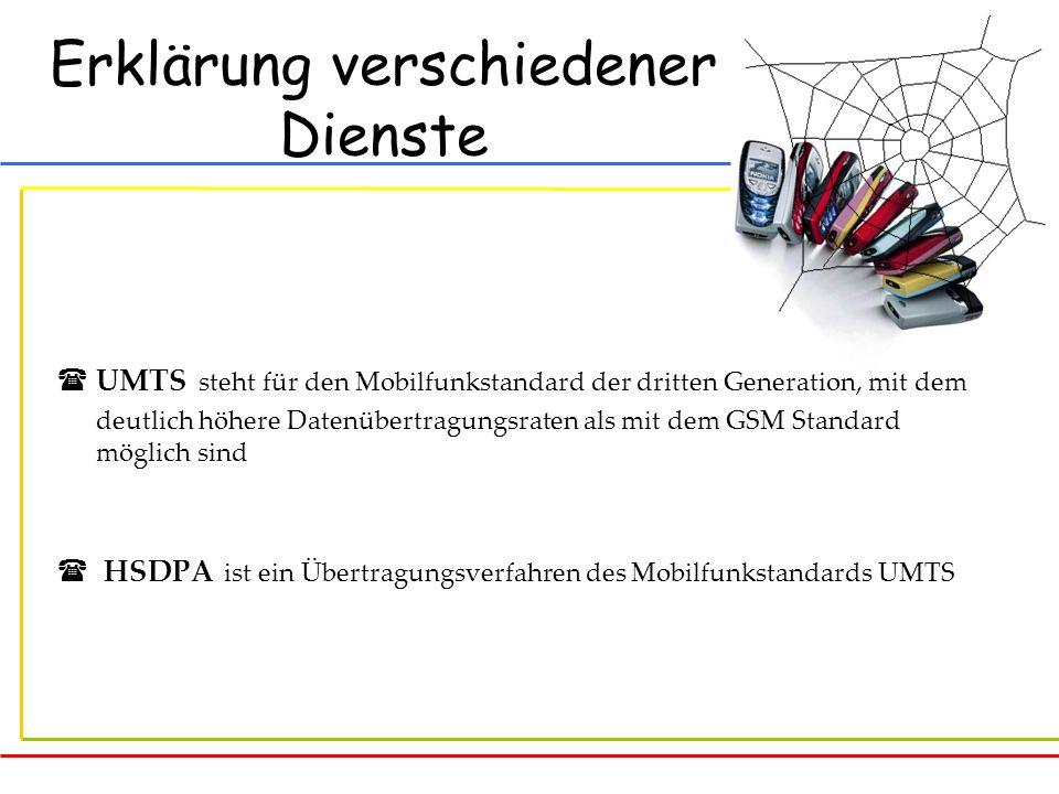 Erklärung verschiedener Dienste UMTS steht für den Mobilfunkstandard der dritten Generation, mit dem deutlich höhere Datenübertragungsraten als mit de