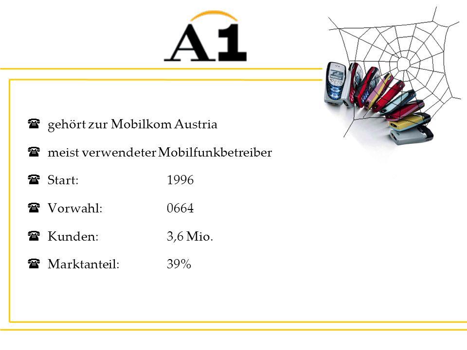 gehört zur Mobilkom Austria meist verwendeter Mobilfunkbetreiber Start:1996 Vorwahl: 0664 Kunden: 3,6 Mio. Marktanteil: 39%