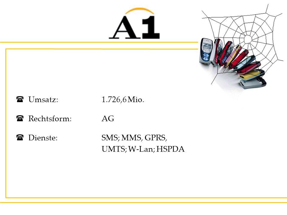 Umsatz:1.726,6 Mio. Rechtsform:AG Dienste: SMS; MMS, GPRS, UMTS; W-Lan; HSPDA
