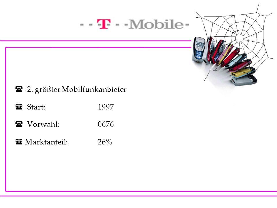 2. größter Mobilfunkanbieter Start:1997 Vorwahl: 0676 Marktanteil: 26%