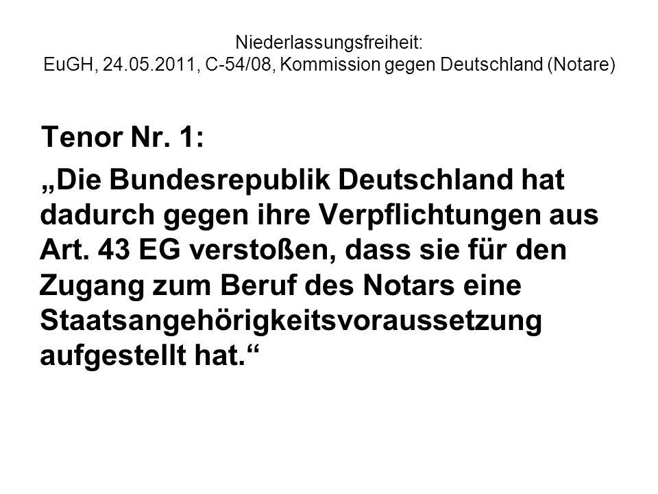 Niederlassungsfreiheit: EuGH, 24.05.2011, C-54/08, Kommission gegen Deutschland (Notare) Tenor Nr. 1: Die Bundesrepublik Deutschland hat dadurch gegen