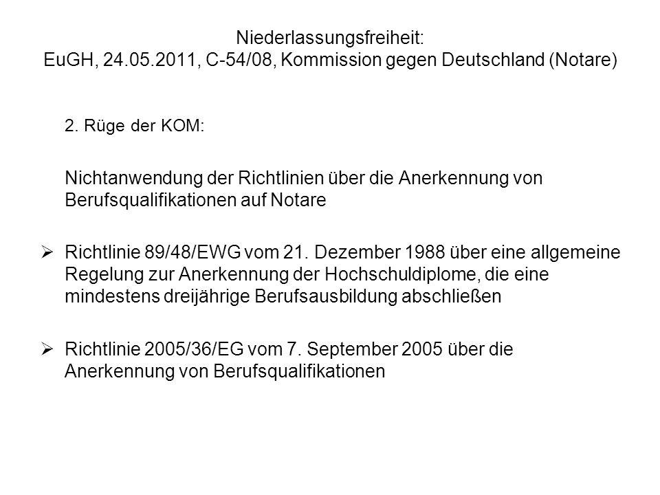 Niederlassungsfreiheit: EuGH, 24.05.2011, C-54/08, Kommission gegen Deutschland (Notare) 2. Rüge der KOM: Nichtanwendung der Richtlinien über die Aner