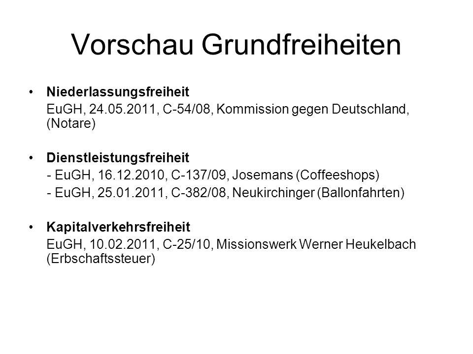 Vorschau Grundfreiheiten Niederlassungsfreiheit EuGH, 24.05.2011, C-54/08, Kommission gegen Deutschland, (Notare) Dienstleistungsfreiheit - EuGH, 16.1