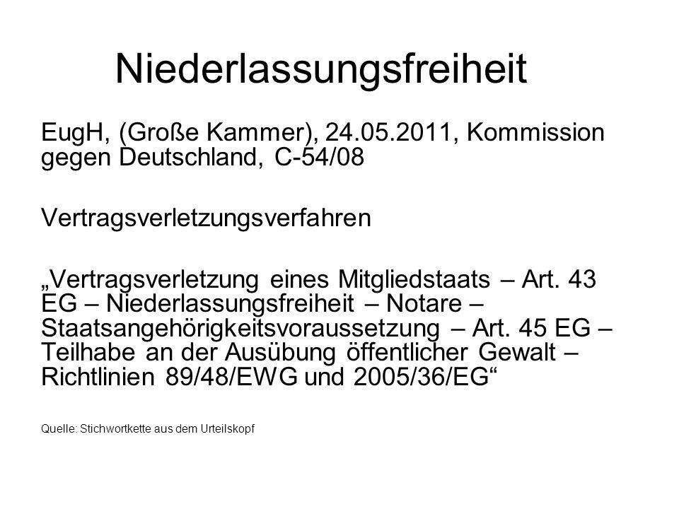 Niederlassungsfreiheit: EuGH, 24.05.2011, C-54/08, Kommission gegen Deutschland (Notare) Vertragsverletzungsverfahren Ziel: Abstellung der Vertragsverletzung Ablauf: Vorverfahren: - Mahnschreiben der KOM (Mitteilung der Tatsachen, aus denen Vertragsverletzung folge mit Aufforderung zur Stellungnahme) - Begründete Stellungnahme (mit Frist zur Beseitigung des Vertragsverstoßes) Feststellungsklage vor dem EuGH Zulässigkeit (u.a.): Keine Klagefrist Fortbestehen der Vertragsverletzung nach Ablauf der mit begründeter Stellungnahme gesetzten Frist Begründetheit: Verstoß des MS gegen das Unionsrecht
