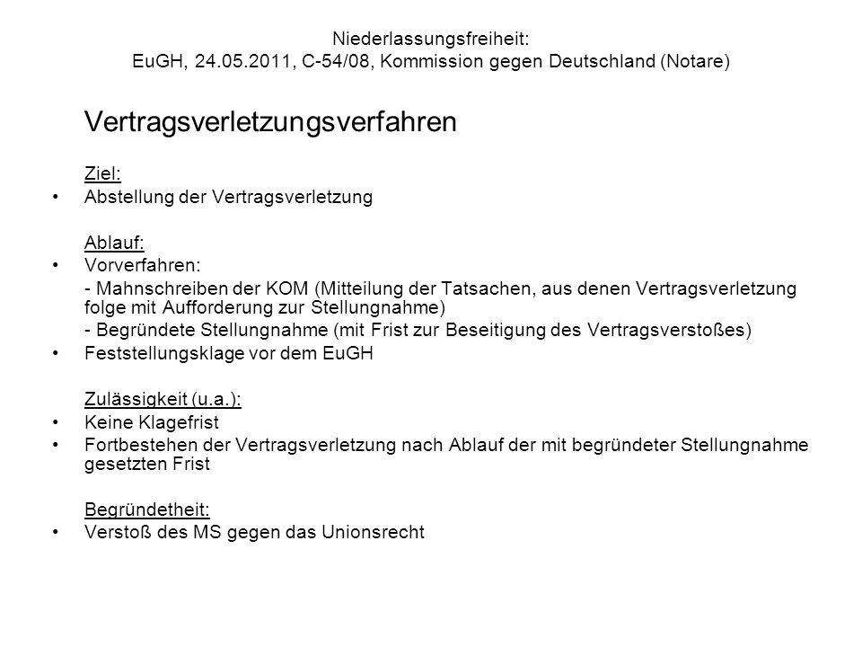 Niederlassungsfreiheit: EuGH, 24.05.2011, C-54/08, Kommission gegen Deutschland (Notare) Vertragsverletzungsverfahren Ziel: Abstellung der Vertragsver