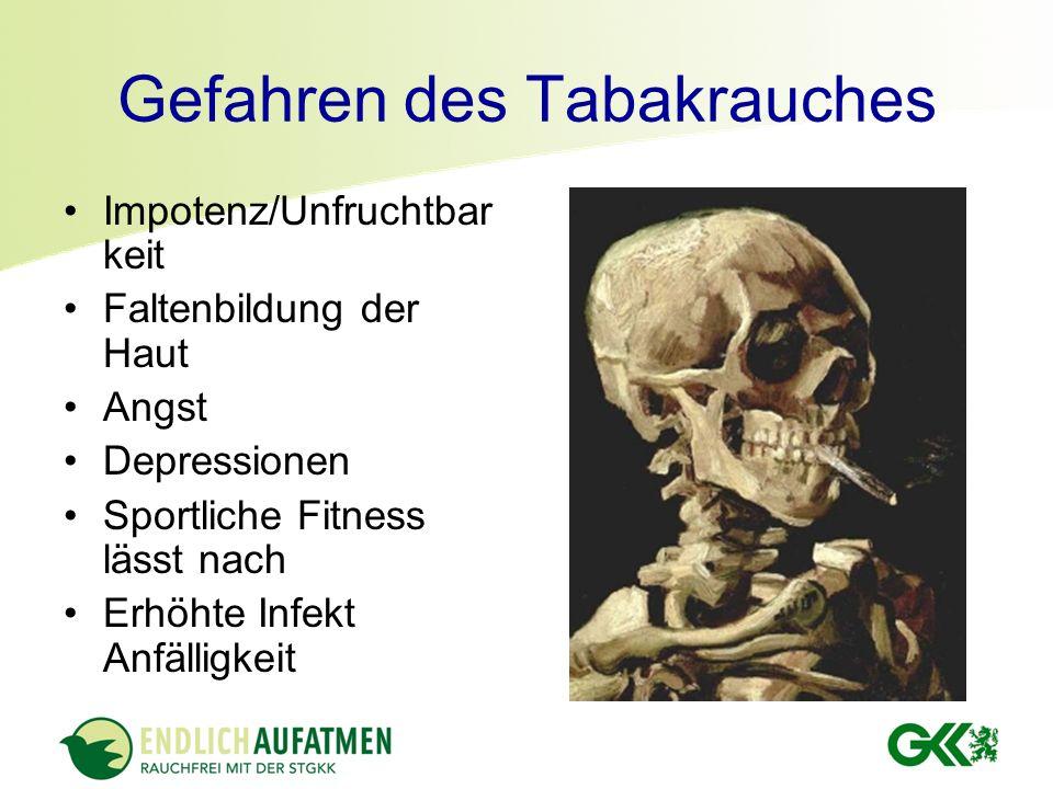 Impotenz/Unfruchtbar keit Faltenbildung der Haut Angst Depressionen Sportliche Fitness lässt nach Erhöhte Infekt Anfälligkeit