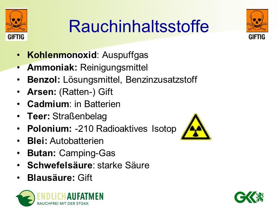 Rauchinhaltsstoffe Kohlenmonoxid: Auspuffgas Ammoniak: Reinigungsmittel Benzol: Lösungsmittel, Benzinzusatzstoff Arsen: (Ratten-) Gift Cadmium: in Bat
