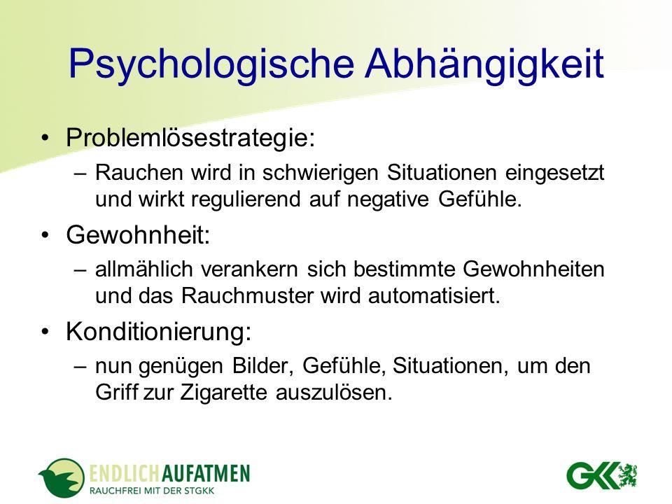 Psychologische Abhängigkeit Problemlösestrategie: –Rauchen wird in schwierigen Situationen eingesetzt und wirkt regulierend auf negative Gefühle. Gewo