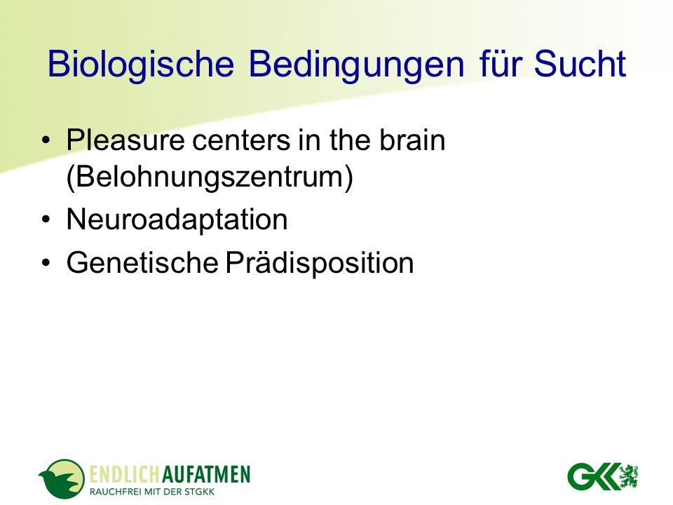 Biologische Bedingungen für Sucht Pleasure centers in the brain (Belohnungszentrum) Neuroadaptation Genetische Prädisposition