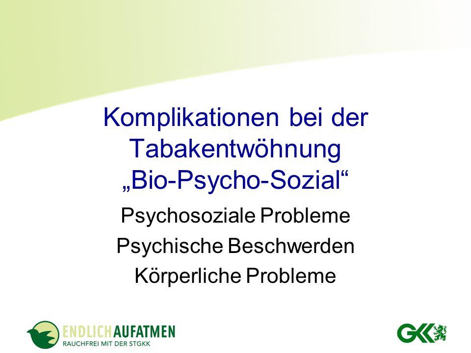 Komplikationen bei der Tabakentwöhnung Bio-Psycho-Sozial Psychosoziale Probleme Psychische Beschwerden Körperliche Probleme