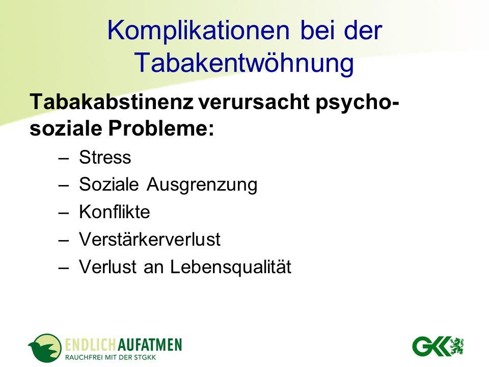 Komplikationen bei der Tabakentwöhnung Tabakabstinenz verursacht psycho- soziale Probleme: – Stress – Soziale Ausgrenzung – Konflikte – Verstärkerverl