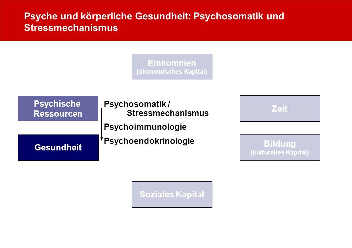 Psyche und körperliche Gesundheit: Psychosomatik und Stressmechanismus Zeit Psychische Ressourcen Einkommen (ökonomisches Kapital) Gesundheit Bildung