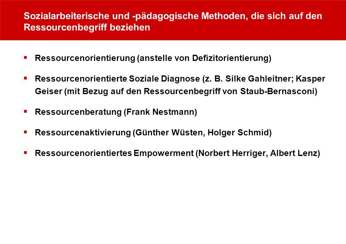 Sozialarbeiterische und -pädagogische Methoden, die sich auf den Ressourcenbegriff beziehen Ressourcenorientierung (anstelle von Defizitorientierung)