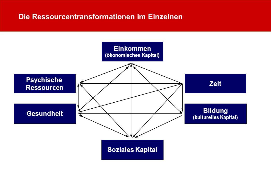 Die Ressourcentransformationen im Einzelnen Zeit Psychische Ressourcen Einkommen (ökonomisches Kapital) Gesundheit Bildung (kulturelles Kapital) Sozia