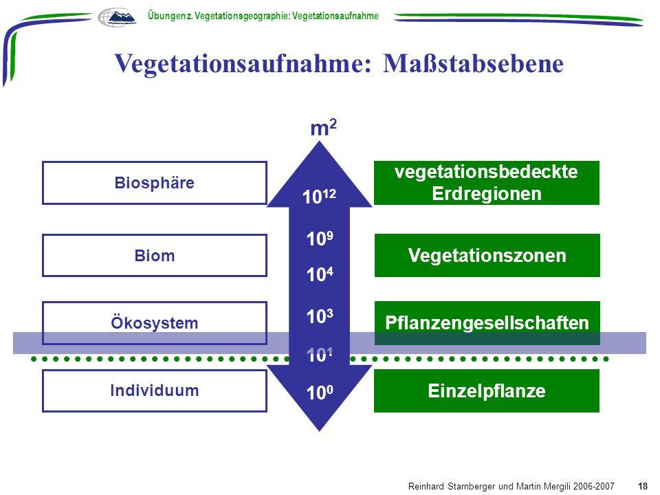 Biosphäre Biom Individuum vegetationsbedeckte Erdregionen Vegetationszonen Ökosystem Pflanzengesellschaften Einzelpflanze m2m2 10 12 10 9 10 4 10 3 10