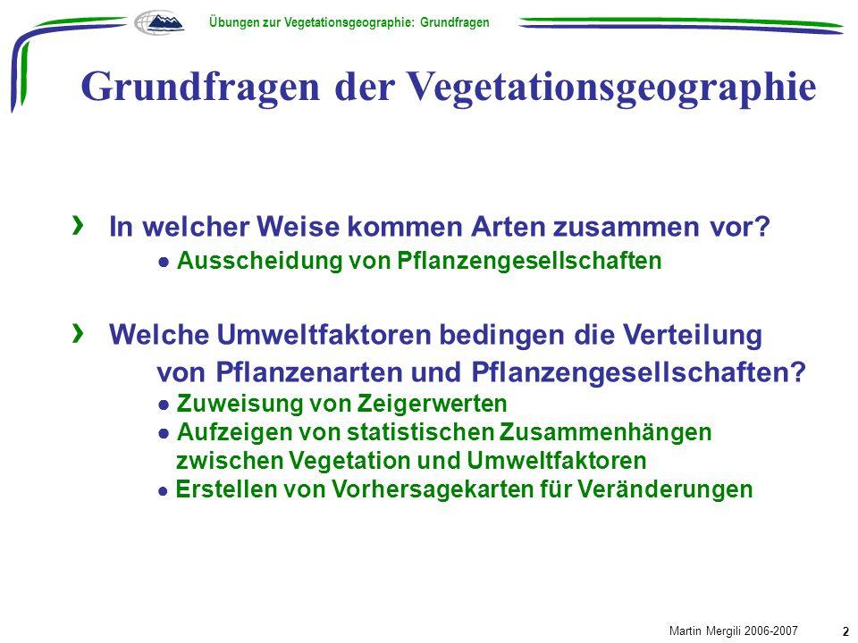 Methoden der Vegetationsgeographie Übungen zur Vegetationsgeographie: Methoden Martin Mergili 2006-2007 3 Vegetationsanalyse Klassifikation nach Braun-Blanquet Numerische Klassifikation (z.B.