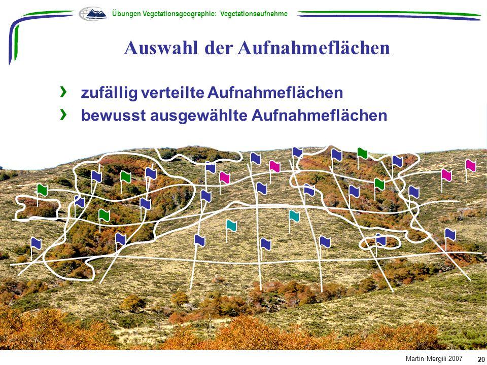 zufällig verteilte Aufnahmeflächen bewusst ausgewählte Aufnahmeflächen Auswahl der Aufnahmeflächen Übungen Vegetationsgeographie: Vegetationsaufnahme