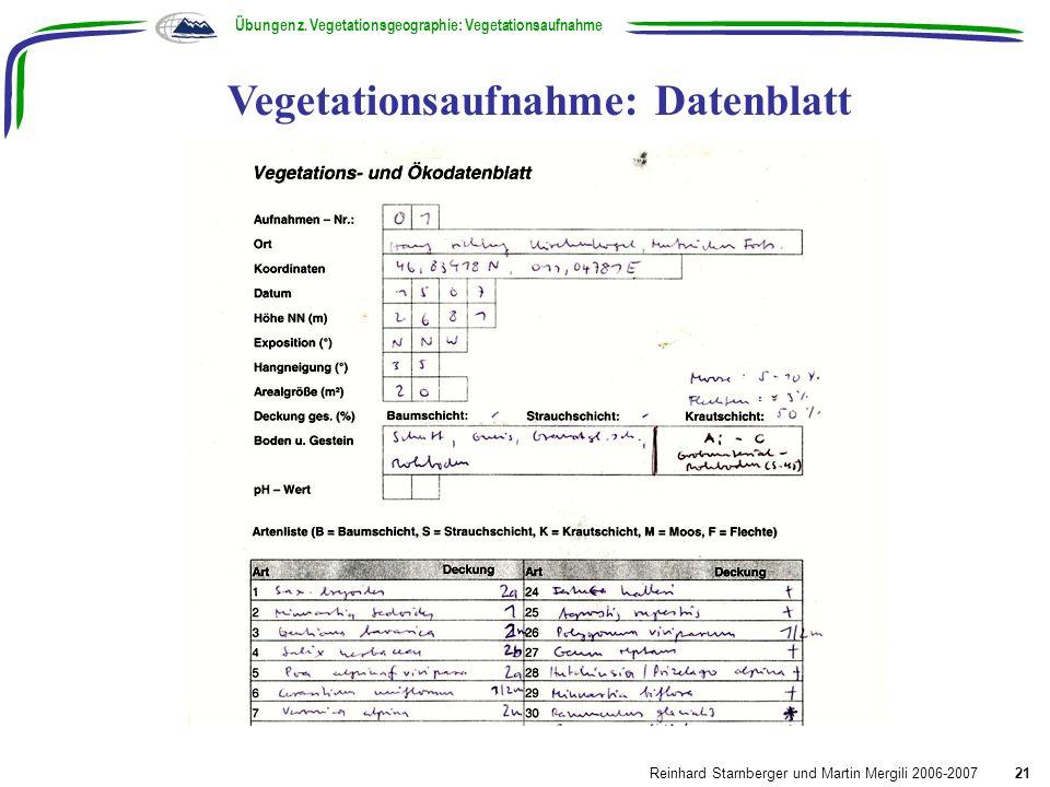 Vegetationsaufnahme: Datenblatt Übungen z. Vegetationsgeographie: Vegetationsaufnahme Reinhard Starnberger und Martin Mergili 2006-200721