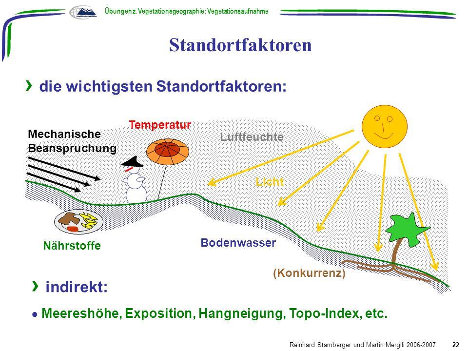 Luftfeuchte Temperatur die wichtigsten Standortfaktoren: 2. Standortsanalyse Standortfaktoren Übungen z. Vegetationsgeographie: Vegetationsaufnahme Re