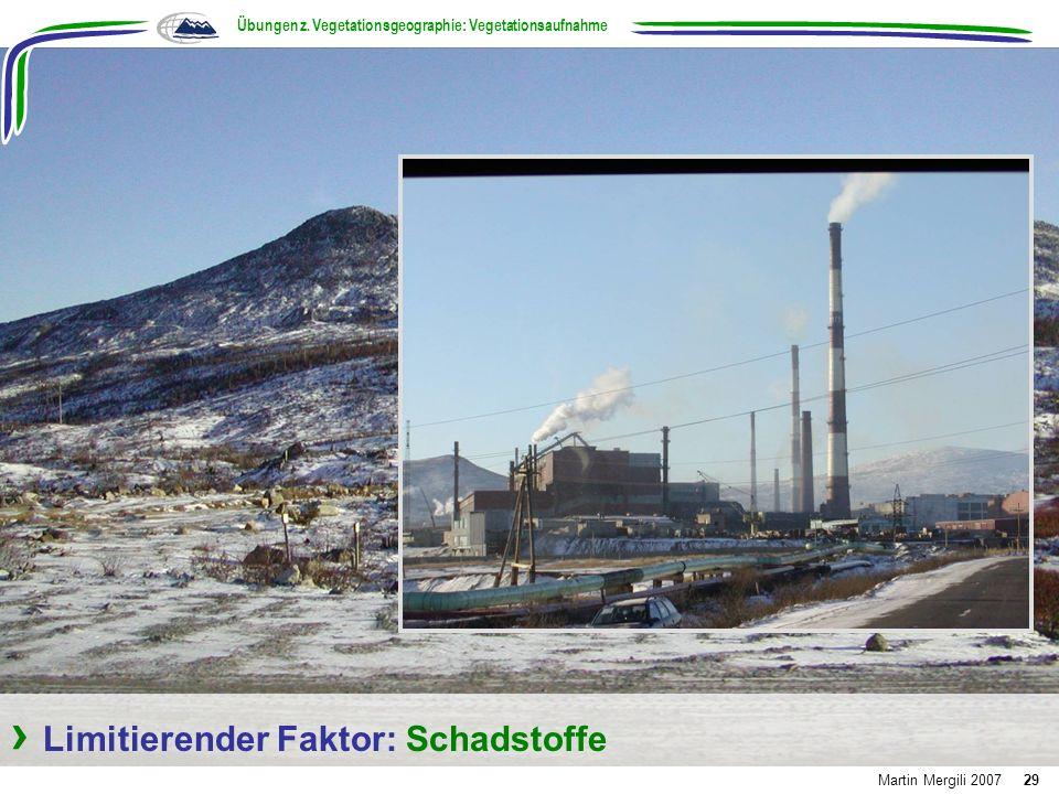 Limitierender Faktor: Schadstoffe Übungen z. Vegetationsgeographie: Vegetationsaufnahme Martin Mergili 200729