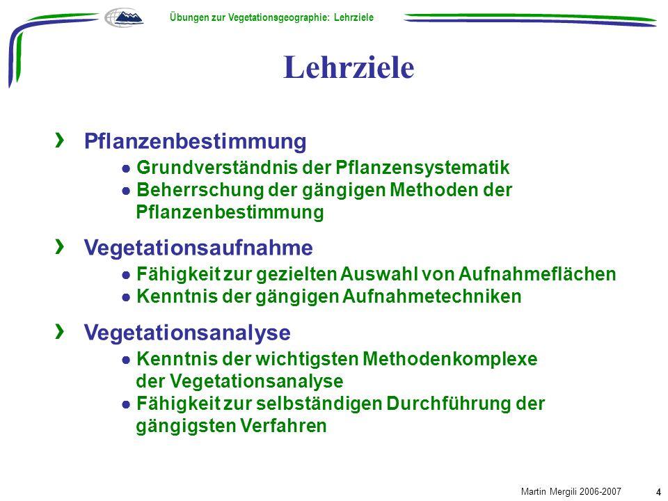 Lehrziele Übungen zur Vegetationsgeographie: Lehrziele Martin Mergili 2006-2007 4 Pflanzenbestimmung Grundverständnis der Pflanzensystematik Beherrsch