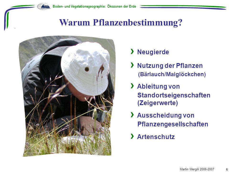 Warum Pflanzenbestimmung? Boden- und Vegetationsgeographie: Ökozonen der Erde Martin Mergili 2006-2007 6 Neugierde Nutzung der Pflanzen (Bärlauch/Maig