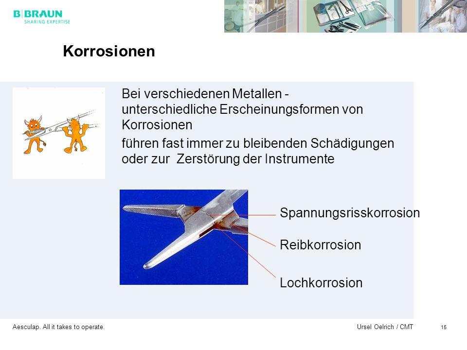 Aesculap. All it takes to operate. Ursel Oelrich / CMT 15 Korrosionen Bei verschiedenen Metallen - unterschiedliche Erscheinungsformen von Korrosionen