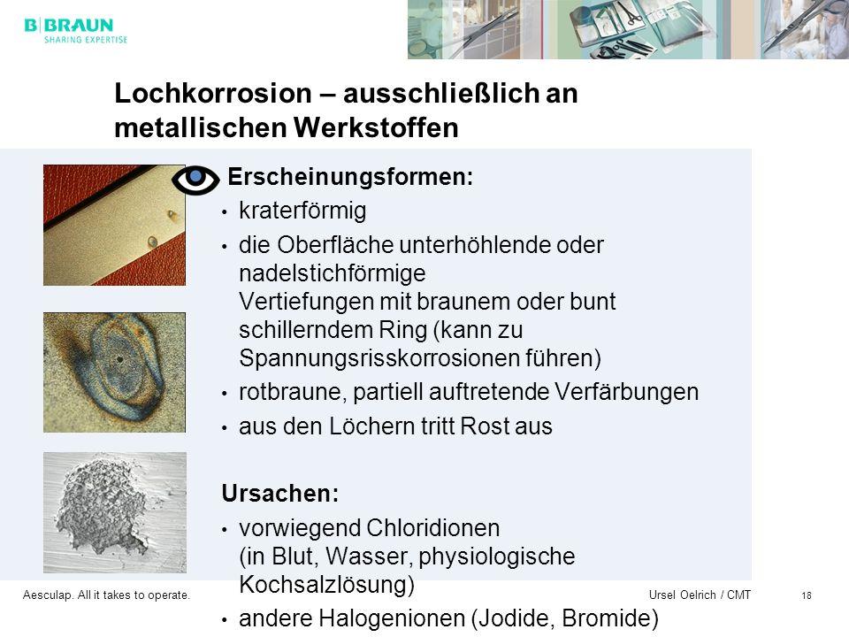 Aesculap. All it takes to operate. Ursel Oelrich / CMT 18 Lochkorrosion – ausschließlich an metallischen Werkstoffen Erscheinungsformen: kraterförmig