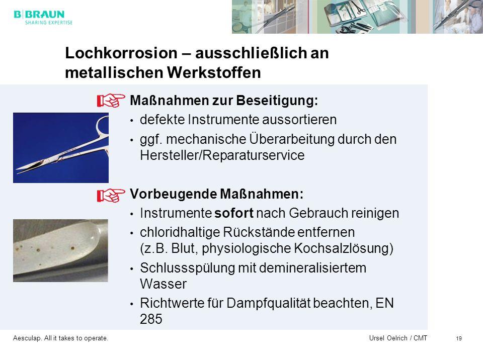 Aesculap. All it takes to operate. Ursel Oelrich / CMT 19 Lochkorrosion – ausschließlich an metallischen Werkstoffen Maßnahmen zur Beseitigung: defekt