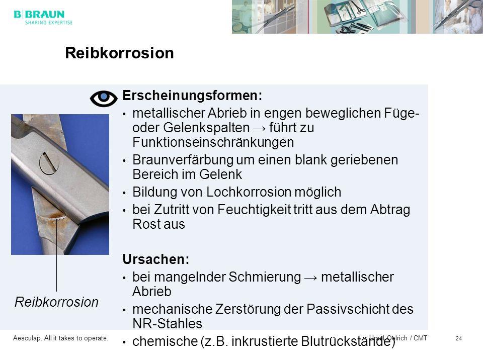 Aesculap. All it takes to operate. Ursel Oelrich / CMT 24 Reibkorrosion Erscheinungsformen: metallischer Abrieb in engen beweglichen Füge- oder Gelenk