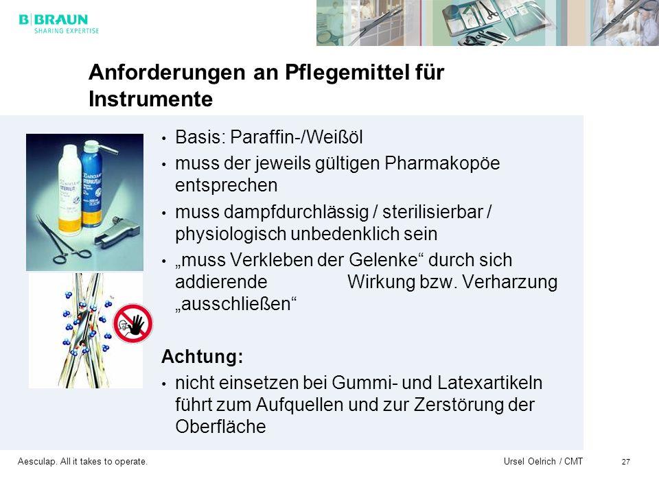 Aesculap. All it takes to operate. Ursel Oelrich / CMT 27 Anforderungen an Pflegemittel für Instrumente Basis: Paraffin-/Weißöl muss der jeweils gülti