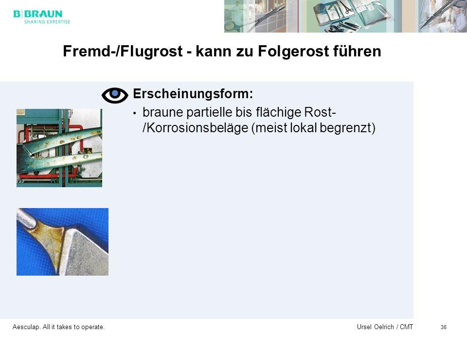 Aesculap. All it takes to operate. Ursel Oelrich / CMT 36 Fremd-/Flugrost - kann zu Folgerost führen Erscheinungsform: braune partielle bis flächige R