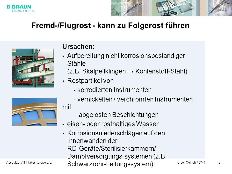 Aesculap. All it takes to operate. Ursel Oelrich / CMT 37 Fremd-/Flugrost - kann zu Folgerost führen Ursachen: Aufbereitung nicht korrosionsbeständige