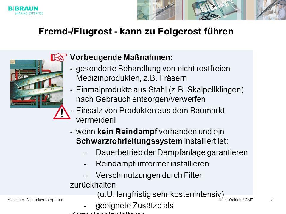 Aesculap. All it takes to operate. Ursel Oelrich / CMT 39 Fremd-/Flugrost - kann zu Folgerost führen Vorbeugende Maßnahmen: gesonderte Behandlung von