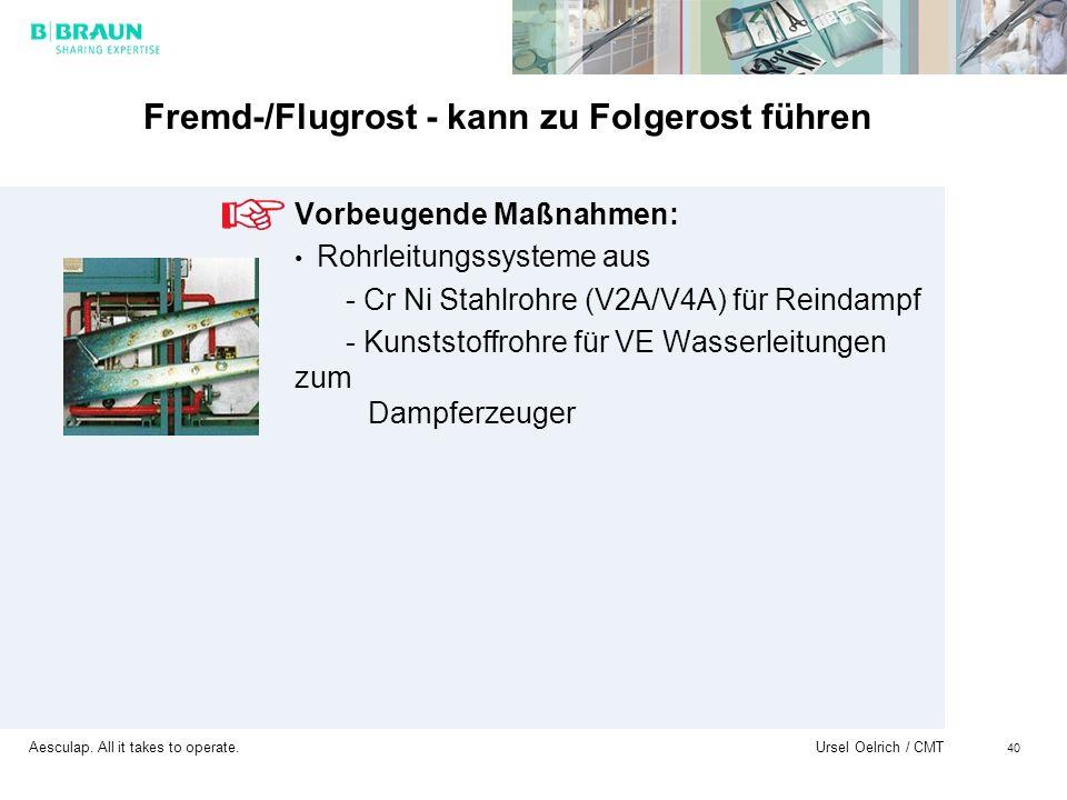 Aesculap. All it takes to operate. Ursel Oelrich / CMT 40 Fremd-/Flugrost - kann zu Folgerost führen Vorbeugende Maßnahmen: Rohrleitungssysteme aus -