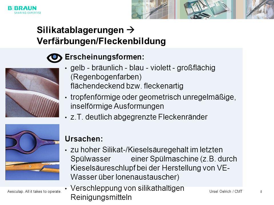 Aesculap. All it takes to operate. Ursel Oelrich / CMT 8 Silikatablagerungen Verfärbungen/Fleckenbildung Erscheinungsformen: gelb - bräunlich - blau -